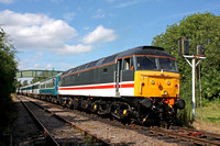 Guest loco 47828 in InterCity livery  heads the prototype HST set & 56097 at rear at Ruddington South Jct  1.7.17 with 1615 Ruddington Fields - Loughborough High Level service at the GCRN Diesel Gala