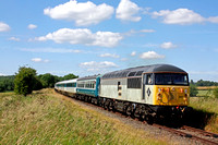 56097 heads the prototype HST set with 47828 (guest) and 47292 at rear passes Stanford on Soar on 2.7.17 with 1515 Ruddington Fields - Loughborough High Level service at the GCRN Diesel Gala