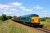 Guest loco 45060 'Sherwood Forester' with 33035 (guest) at rear passes Stanford on Soar on 2.7.17 with 1415 Ruddington Fields - Loughborough High Level service at the GCRN Diesel Gala