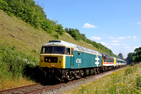 47292 & 47828 (guest) head 41001 & HST prototype set with 56097 (rear) at Stanford on Soar cutting on  2.7.17 1606 Loughborough High Level - Ruddington Fields service GCRN Diesel Gala