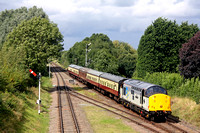 37714 'Cardiff Canton' in BR Railfreight Grey (Metals Sector)  approaches Quorn & Woodhouse station on 19.8.17 with 1430 Loughborough - Leicester North GCR diesel service