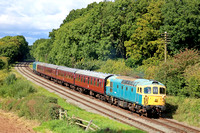 D6535 tnt D5343 passes Kinchley Lane on 9.9.17 with  1425 Loughborough - Rothley Brook shuttle service at the GCR September 2017 Diesel Gala