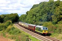 Guest Class 35 (Hymek) D7017 from West Somerset Railway sweeps round the curve at  Kinchley Lane on 9.9.17 with 1415 Loughborough - Leicester North service at the GCR September 2017 Diesel Gala