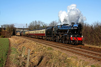 LMS Black 5 No 45305 at Woodthorpe, GCR on 09.1.11 with 1315  Loughborough - Leicester North 'The Elizabethan' dining service