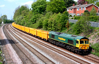 66614 at Barrow Upon Soar, MML on 29.4.09 with 6M23 1015 Doncaster Virtual Quarry - Mountsorrel empty yellow IOA wagons