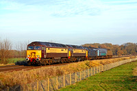 57312 leading 57305, 37422, mk2 coach 5937 and 57007 on rear at Rearsby heading towards Syston East Junction on 07.12.16 with 5Z71 1010 Norwich C.Pt. T.&R.S.M.D - Derby R.T.C.(Network Rail) loco and s