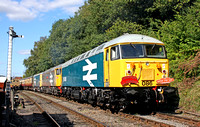 56086, 56040 & 73114 wait to depart Shackerstone Station on 20.9.09 with 1300 service to Shenton at the Battlefield Line Diesel Gala Sept 2009