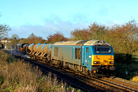 Arriva blue 67003 tnt 67006 'Royal Sovereign' at Narborough heading towards Wigston North Jn on 1.11.14 with 3J92 2318 Toton T.M.D. - West Hampstead North Jn. RTT working