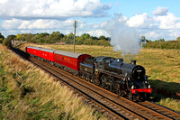 Guest loco BR Standard 4 No 76084 races through Woodthorpe on 4.10.14 with 1635 Loughborough - Swithland Sdgs TPO demonstraion train at the GCR Autumn Steam Gala 2 - 5 October 2014