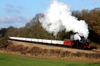 LMS Jinty 47406 at Kinchley Lane on 31.1.10 with 1425 Loughborough - Rothley Brook demo freight of Windcutters