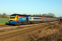 EMT HST 43076 & 43081 at Thurmaston heading into Leicester on 30.11.11 with 0928 Nottingham - London St.Pancras International service