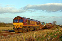 66110 tnt 66018 with 3J41 Sunday Only 1358 Peterborough  T&RSMD - Leicester - Peterborough T&RSMD RHTT train on 27.11.11 near Kirby Bellars heading towards Syston East Junction