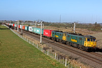 86613 and 86607 at Barby Nortoft  south of Rugby on 3.2.11 with 4L75 0958 Crewe Basford Hall - Felixstowe Freightliner