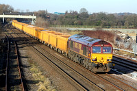 66158 at Sandiacre heading towards Toton Centre on 19.1.11 with 6M23 0836 Doncaster Up Decoy Sdgs - Mountsorrel empty Network Rail yellow IOA wagons. DBS have taken this working over Freightliner