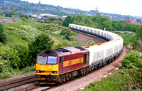 60500 Rail Magazine at Pride Park, Derby on 13.6.07 with diverted 6M87 1203 Ely Papworth Sidings  - Peak Forest empty EWS hoppers