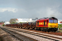 60096 at Loughborough South Junction on 28.4.08 with 6M96 0548 Margam - Corby BSC loaded steel coil wagons