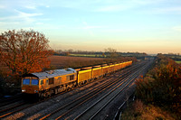 66717 'Good Old Boy' at Cossington, MML on 24.11.14 with 6M60 1112 Whitemoor Yard L.D.C  - Mountsorell Sdgs empty IOA wagons  catches the suns low golden rays