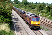 60017 an the mainline at Normanton on Soar heading towards Loughborough on 15.8.08 with 6M96 0548 Margam - Corby BSC loaded steel coil wagons