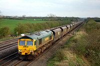 66616 at Cossington heading north towards Sileby Junction on 1.4.11 with 6Z66 Daw Mill - Ratcliffe loaded FHH coal hoppers