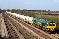 66511 at Cossington, MML heading towards  Syston E Junction on  21.3.12 with 6L87 1237 Earls Sdgs - West Thurrock loaded cement  PCA tanks
