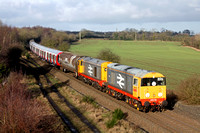 Railfreight grey 20118 & 20132 with blue 20107 & 20096 at rear at Bagworth Incline heading towards Knighton Junction, Leicester on 16.1.15 with 7X23 0933 Derby Litchurch Lane - Old Dalby Lul Dept S S