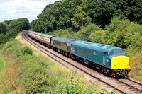 45041 with D123 for insurance at Kinchley Lane on 3.8.14 with 1300 Loughborough - Leicester North GCR diesel service