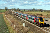 Cross Country Voyager 221 126 at Elford near Tamworth on 19.2.12 with 1354 SuN Only Derby - Reading service