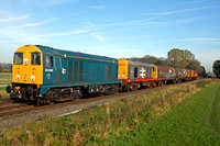 20096 & Railfreight livery 20118 'Saltburn-by-the-Sea' lead 2 tank barriers with 20311 & 20314 at rear East Goscote nr Syston East Junction 13.11.13 6M21 0955 Peterborough - Derby Litchurch Lane move