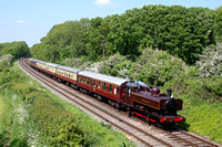 First time visit of GW Pannier Tank L92 in LT red livery at Kinchley Lane on 18.5.14 with 1415 Loughborough - Leicester North service at the GCR Classic & Vintage Vehicle Fest