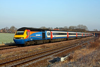 EMT HST 43073 & 43044  at a frosty Thurmaston heads into Leicester on 1.2.12 at Thurmaston heading into Leicester on 1.2.12 with 0928 Nottingham - London St.Pancras International service