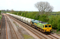 66522 Shanks at Normanton on Soar heading towards Loughborough on 02.5.12 with 6L87 1238 Earles Sidings - West Thurrock loaded pca cement tanks