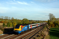 In stunning autumn colours at Kilby Bridge, MML  EMT HST 43050 leads with 43087 at rear on 2.11.16 in charge of 1D42 1415 St Pancras International - Nottingham service