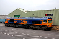 66737 in new GBRf Europorte livery after re-paint departs Loughborough Brush Traction on  15.4.11 with 0Z66 1550 Loughborough Brush - Peterborough. Note last 2 large digits of number