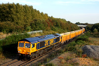 66722 'Sir Edward Watkin' in latest GBRf livery at Bagworth Incline   on 8.9.14 with 1156 Westbury Up T.C. - Cliffe Hill Stud Farm Gbrf empty yellow Network Rail IOA wagons in interesting light