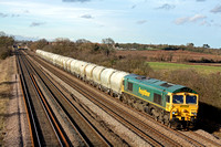 66557 at Cossington, MML heading towards  Syston E Junction on  23.2.12 with 6L87 1237 Earls Sdgs - West Thurrock loaded cement  PCA tanks