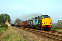 37059 & 20305 at Rearsby heading towards melton Mowbray on 24.4.10 with 1Z37  Crewe - Norwich 'The Broadsman' railtour