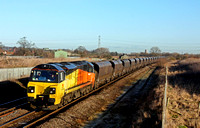 Colas Rail 70808 at Barton-under-Needwood south of Burton on Trent on 14.1.15 with 4V12 0900 Ratcliffe Power Station (Colas Rail) - Gloucester N.Y. empty coal hoppers