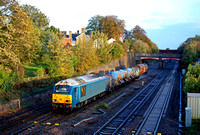 67003 in Arriva livery tnt  67025 'Western Star' at Barrow Upon Soar, MML near Loughborough on 21.10.14 with 3J93 1155 West Hampstead North Jn - Toton T.M.D RHTT working in very last dregs of sun