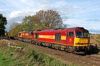 60009 with 66156 (DIT) at Chellaston heading towards Castle Donington on 22.10 10 with 6D44 1228 Bescot - Toton North Yard departmental