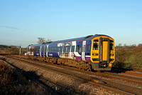 Northern Rail Class 158 No 158796 nears Trowell Junction on 3.12.14 with 1Y29 1205 Leeds -  Nottingham service