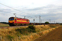 92001'Victor Hugo' at Frinkley Lane, Marston, ECML  heading towards Newark on 15.9.11 with 4E32 1152 Dollands Moor - Scunthorpe empty steel carriers. The 92 will be removed at Doncaster Belmont Sdgs