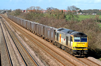 60013 'Robert Boyle'is seen at Cossington, MML heading for Syston East Junction on 28.2.07 with 6Z88 Drax - Hotchley Hill loaded Gypsum containers running via Humberstone Road, Leicester