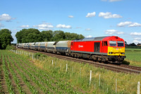60054 in DB Schenker livery at East Goscote heading towards Syston Junction on 11.7.12 with 6Z44 1324 Kennett  - Peak Forest empty Cemex hoppers in lovely light