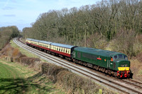 Class 45 No D123 at Kinchley Lane on 22.3.15 with 1300 Loughborough - Leicester North GCR Diesel service