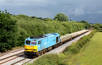 Powder Blue 60074 'Teenage Spirt' at Barrow Upon Trent heading towards Stenson Junction on 18.7.12 with 6K50 1502 Toton  North Yard - Basford Hall, Crewe departmental working under a black sky