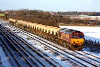 66204 trundles along the slowline at Cossington, MML on 6.1.10 with 1448 mountsorrel - Peterborough loaded 4 wheeled hoppers