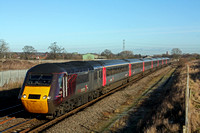 XC HST 43366 with 43207 at rear  at Barton-under-Needwood south of Burton on Trent on 14.1.15 with 1V50 0606 Edinburgh -Plymouth service