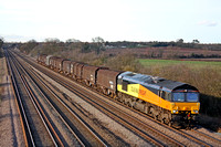 Colas Rail 66848 at Cossington heading towards Leicester on 23.2.12 with 6M08 1314 Boston Docks - Washwood Heath Met Camm loaded steel carriers