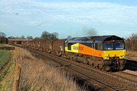 Colas Rail 66848 at Thurmaston heading into Leicester on 23.2.12 with 6M08 1314 Boston Docks - Washwood Heath Met Camm loaded steel carriers