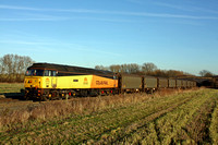 Colas Rail 47727'Rebecca' waits at Stenson Bubble, on the Castle Donington branch' on 16.1.12 with 6M08 1152 Boston Docks - Washwood Heath with loaded steel carriers running via Burton Upon Trent